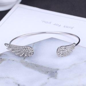 Silver Crystal Angel Wings Cuff Bangle Bracelet